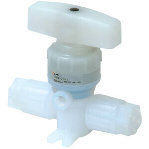 LVQHS, 2 Port Chemical Valve, Integral Fitting, Space Saving Type, Manual Operation