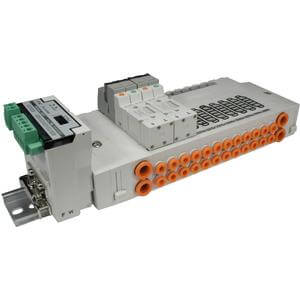 SS5Y3-45S*, 3000 Series, Stacking Manifold, DIN Rail Mount, Serial Transmission