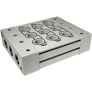 SS5Y9-23*, 9000 Series, Stacking Manifold, DIN Rail Mount (option), Body Ported