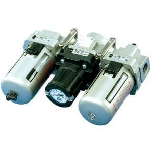 ACG20~40 (FRL), Air Filter, Regulator w/Built-in Pressure Gauge, Lubricator