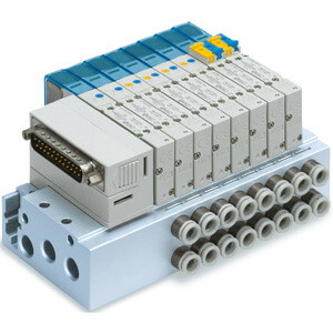 SS5Y5-50/51, 5000 Series Manifold, D-sub Connector, Flat Ribbon Cable, PC Wiring System (IP40)