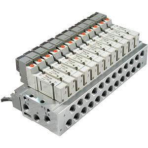 10-SS5Y3/5-45, Base Mounted Manifold, Stacking, DIN Rail, Individual Wiring, Clean Series