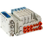 SS5Y5-12S, 5000 Series Manifold, Top Ported for EX260 Integrated-type for Output, Serial Transmission System