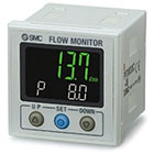 25A-PF3W3, Digital Flow Monitor, 2-Screen 3-Color, IP65, for 25A-PF3W5 Sensors, Secondary Battery
