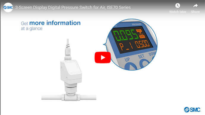 3-Screen Display Digital Pressure Switch, ISE70 Series