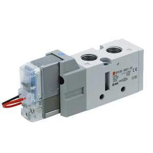 VF3000, Elektromagnetický nepřímo ovládaný 5/2 a 5/3 ventil, s usměrňovačem