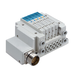 SS5Y5-12M, 5000 Series Manifold, Circular Connector (IP67), Top Ported