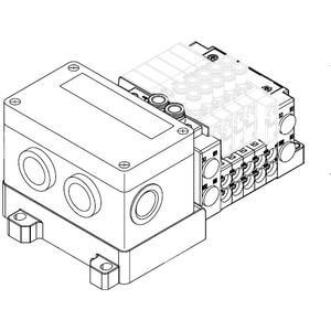 SS5Y5-12S4, 5000 Series Manifold for Series EX126 Integrated (Output) Serial Transmission System (IP67), Top Ported