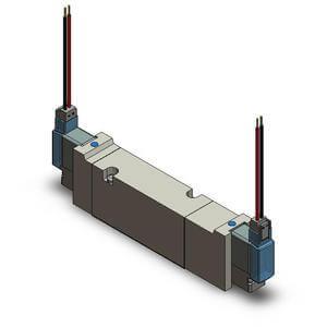 VQZ**5*, řada 1000,/2000/3000, Elektromagnetický nepřímo ovládaný 5/2 a 5/3 ventil, montáž na základovou desku