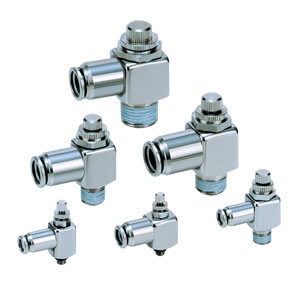 ASG, Drosselrückschlagventil, einschraubbar mit Steckverbindung, Winkelausführung, Gehäuse aus rostfreiem Stahl