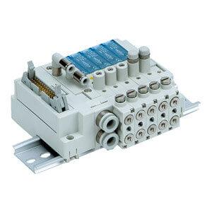 SS3J3-V60, Vícenásobná připojovací deska - individuální elektrické připojení, pro ventily řady SJ3A6 pro vakuum, vestavěný škrticí ventil