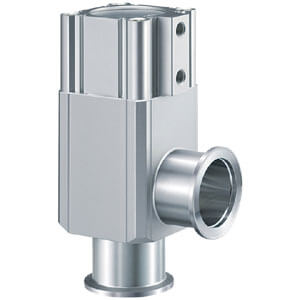 XLC, Aluminum High Vacuum Angle Valve, Double Acting, Bellows Seal